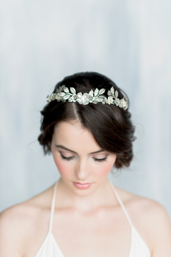 Silver Leaf Crown, Gold Leaf Headband, Gold Flower Crown, Leaf Headpiece, Silver Hairband, Modern Crown, Gold Leaf Crown, Leaf Tiara, HELENA