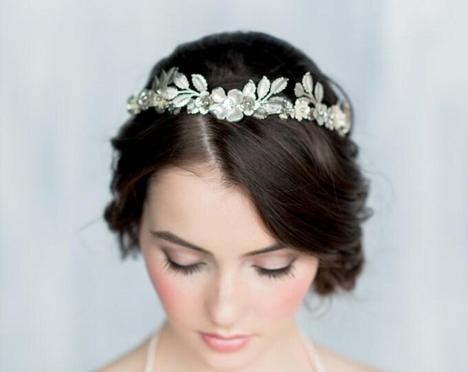 Silver Leaf Crown, Gold Leaf Headband, Gold Flower Crown, Leaf Headpiece, Silver Hairband, Modern Crown, Gold Leaf Crown, Leaf Tiara, HELENA