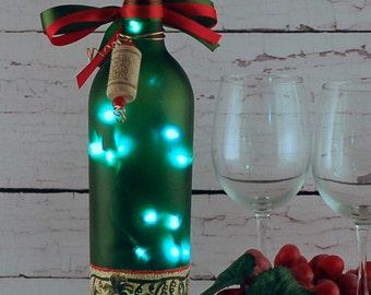Lighted wine bottle with hand painted red grapes