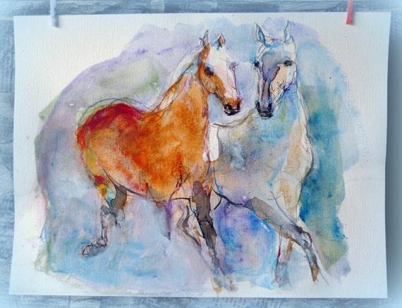 chevaux aquarelle multicolore peinture aquarelle originale. Black Bedroom Furniture Sets. Home Design Ideas