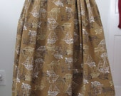 Vintage 1950s Novelty Skirt - 1950s Nautical Print Cotton Skirt