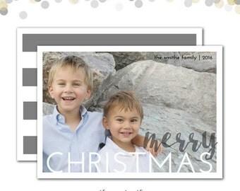 Christmas Card, Photo Card, Merry Christmas Card, Gray Stripes, Modern Christmas Card, Printed or Printable