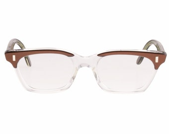 WK Jutta geeky 50s journalist new old stock squared bicolour clear / brown eyeglasses frames hand made in Germany.