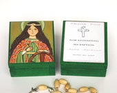 St Catherine of Alexandria box Saint Catherine box Personalized christening gifts for girls Baptism favors for girls First communion favors