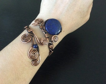 Lapis Lazuli Cuff Bracelet, Lapis lazuli bracelet, Copper Bracelet, Wire Wrapped Jewelry Handmade, Copper Jewelry, Lapis Bracelet