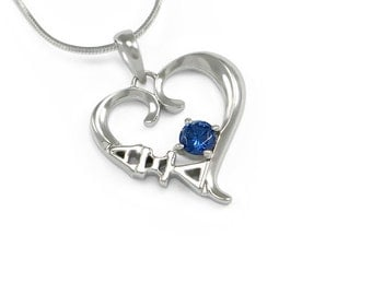 Alpha Xi Delta Sterling Silver Heart Pendant with brilliant blue CZ// ΑΞΔ Sorority Jewelry // Sorority Necklace // Greek Gift // ΑΞΔ Jewelry
