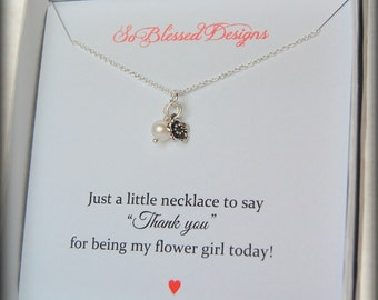Thank you Flower girl gift, flower girl necklace, girls necklace, junior bridesmaid jewelry, Childs pearl necklace, flower girl gift ideas