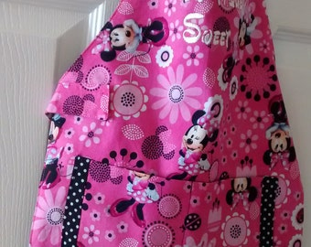 Toddler Apron Pink Minnie Mouse/2 Trimmed Pockets/ Personalized/Pockets/Elastic Neck/Velcro Waist Closure