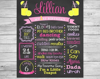 Lemonade Birthday Chalkboard Printable,  Lemonade First Birthday Chalkboard Sign - Lemonade Birthday, Lemons