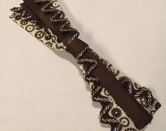 Steampunk Cream & Brown Gear Ribbon Medley Bow on French Barrette