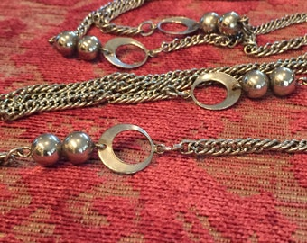 Vintage Silver Tone Beaded and Chain Long Necklace