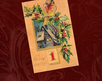 Antique/Vintage 1910 New Years/Christmas Postcard Red Bird on Holly Branch Snow Covered House