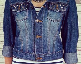 Reworked Studded Vintage Jean Jacket / Vintage Jean Jacket Size S