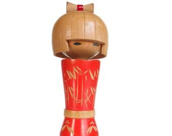Delightful Hair Ribbon Kokeshi Doll. Kawaii Japanese Kokeshi. Cute. Cheerful. Japanese Doll. Traditional Japanese Doll. Wood doll. Handmade.