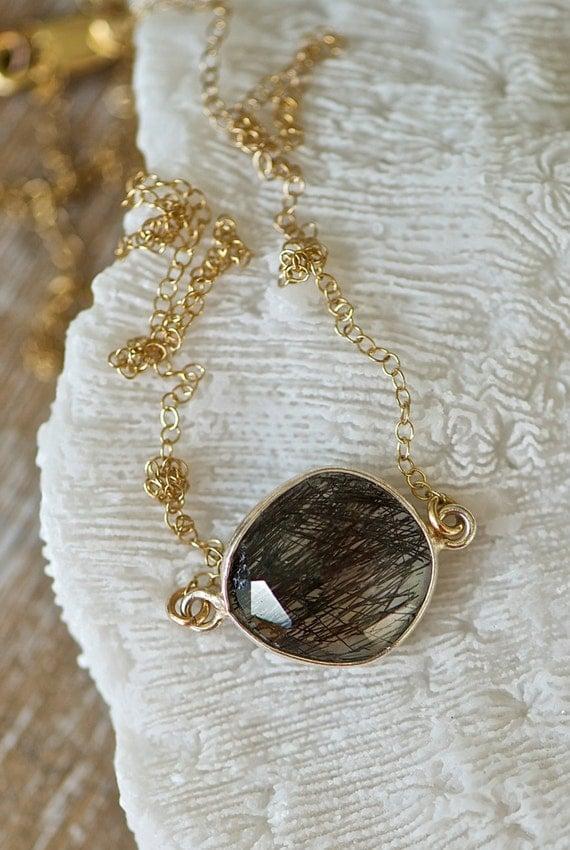 Black rutilated quartz pendant necklace gold by seabluestudio for Golden rutilated quartz jewelry
