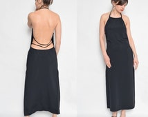 Vintage 90's Backless Black Maxi Long Dress / Black Spandex Slit Dress / Sleeveless Maxi Slit Dress
