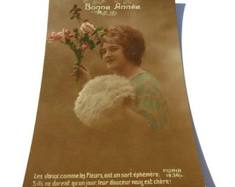 French Vintage Postcard . Bonne Année . Lovely Postcard of a Lady . Vintage Postcard . Old Postcard .