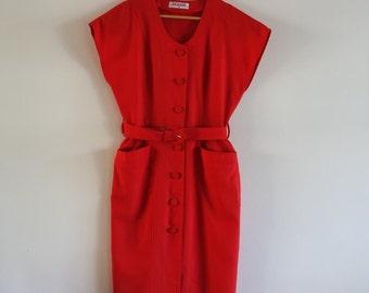 Vintage 1980's Red Belted Dress