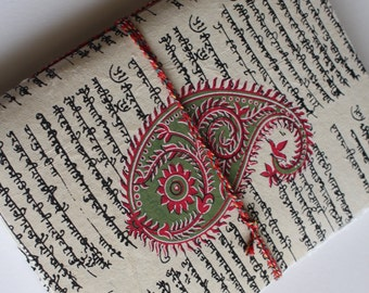 Handmade Traditional Indian Bohemian Notebook ; Journal ; Diary ; Sketchbook ; Art Journal ; Boho ; Unruled ; Handmade Paper ; Floral