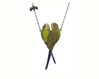 Budgie jewelry, budgie necklace, budgerigar, budgerigar necklace, green bird necklace, vintage parakeet, parakeet necklace, budgerigars