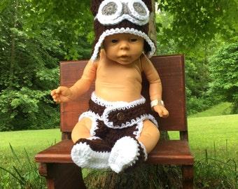 Baby Aviator Baby Photo Prop Newborn Aviator Baby Boy Outfit Baby Girl Costume Avaitor Hat Pilot Hat Crochet Baby Baby Shower Gift Aviator