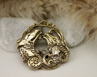 Two Dragons Couple Love bronze pendant necklace
