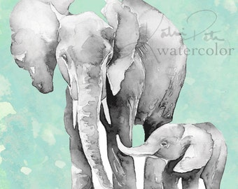 Teal, gray elephant mom and baby watercolor print. Perfect for a teal and gray nursery. Animal nursery prints.