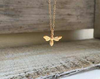 Small Gold Bee Charm Necklace, Gold Honey Bee Pendant Necklace