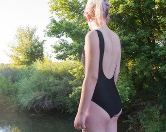Vintage 80's Scoopback One-Piece Swimsuit