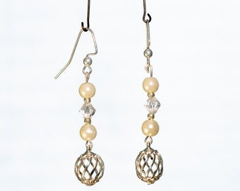 Glass Pearl and Crystal Earrings