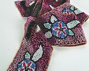 "Vintage 10s/20s Purple Beaded Trim, Black Net, Pink, Black, White, Blue, Glass Bugle, Seed Beads, 1 Yard, W  2"", Sold as a Whole, Edwardian"