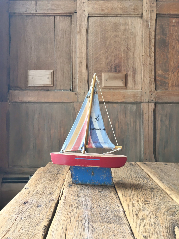 Vintage Pond Boat Toy Boat Wood Sailboat Nautical Decor