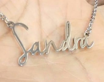 Name Necklace Custom Silver Stainless Steel (316) with Surgical Stainless Steel chain