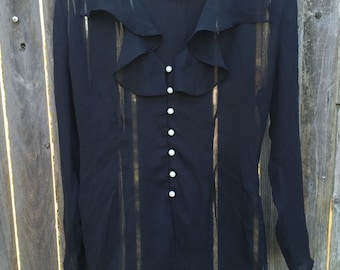 80s Sheer Black Ruffled Blouse M