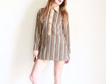 1970s striped corduroy mini dress | 70s tunic top | drop waist belted micro mini | earth tones [ small ]