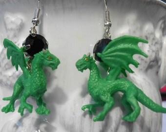 Green Dragon Black Rhinestone Earrings - Miniature Dragon Earrings - Dragon Rhinestone Dangles - Mystical Animal - Fantasy Inspired Jewelry