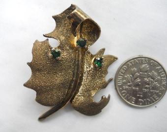 vintage Les Bernard  sterling vermeil brooch-burnished gold leaf pin signed Les Bernard- designer pin signed  Les Bernard-green rhinestones