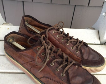 Two Toned Chocolate Brown Leather 'FRYE' Club Tennis Shoes Men's Size 13