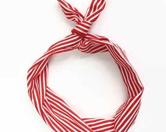 Red and White Stripe Wire Twist Headband, Dolly Bow, Top Knot, Comfortable for Women, Teen, Kids and Baby
