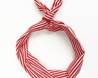Red and White Stripe Wire Headband