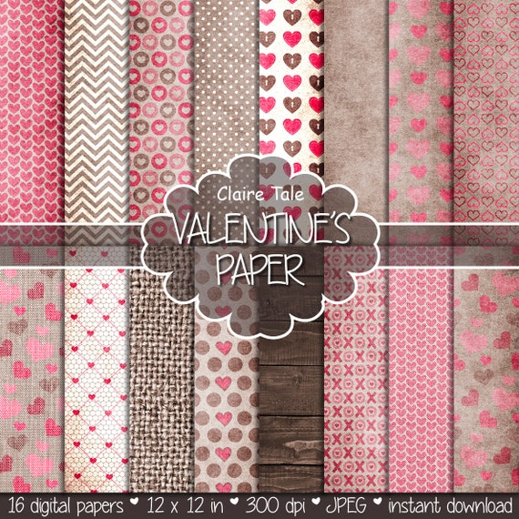 "Valentine's day digital paper: ""VALENTINE'S PAPER"" rustic valentine backgrounds / hearts on kraft, linen, wood/ valentine's hearts patterns"