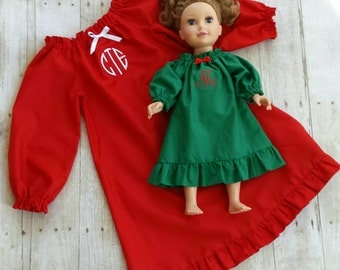 Custom Personalized Monogrammed Winter Nightgown...Green, Red, or White ...Perfect for Christmas