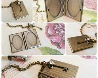 Romantic Book and Key Locket Pendant Necklace