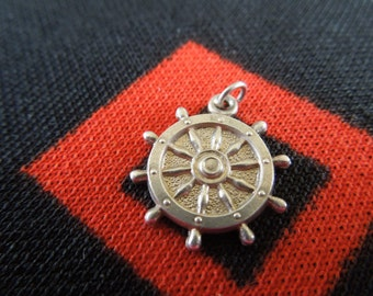 Sterling Ships Wheel Charm Vintage Ships Wheel Charm Sterling Silver Charm for Bracelet from Charmhuntress 03142
