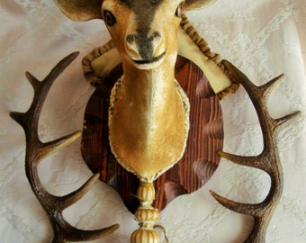 Antique Vintage Faux Taxidermy Deer Head Trophy with Celluloid Antlers & Eyes Oh So Sweet! Made of Timeworn Flocking
