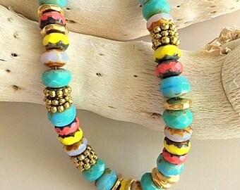 Colorful Beaded Bracelet with Om Charm , Vintage Blue Charm, and Rose Crystal - Multicolor Summer Boho Chic Bracelet