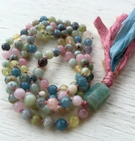 Aquamarine Mala Beads Beryl Heliodor and Morganite Throat Chakra Vishudha Chakra Assertive Communication Intuition March Births