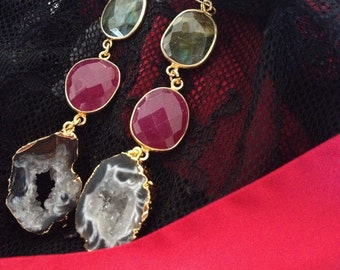 Labradorite, ruby and agate slice earrings