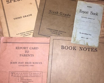 5- Antique Report Cards, Book Notes and Spellers from the 1920s, Vintage 1920s Report Cards, Antique School Ephemera, Book Notes