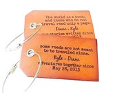 Destination Wedding Leather Luggage Tags, Personalized Wedding Gift, Bag Tag, Honeymoon Luggage Tags, Couples Wedding Gift, Save The Date